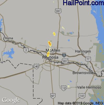 Hail Map for McAllen, TX Region on June 8, 2012