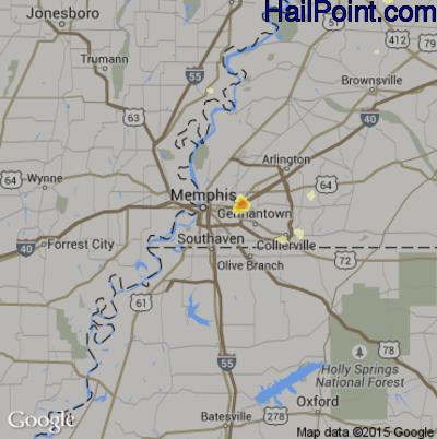 Hail Map for Memphis, TN Region on June 11, 2012