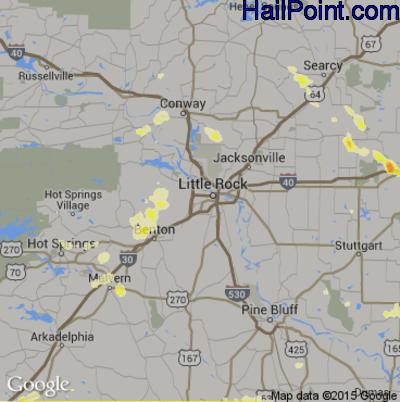 Hail Map for Little Rock, AR Region on June 11, 2012