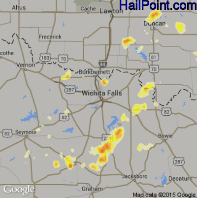 Hail Map for Wichita Falls, TX Region on June 12, 2012