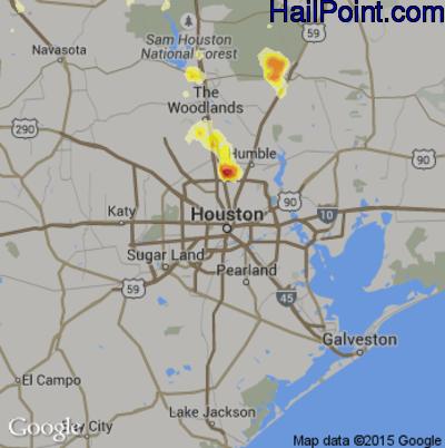 Hail Map for Houston, TX Region on June 12, 2012