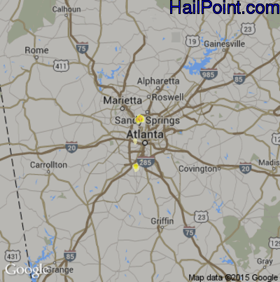 Hail Map for Atlanta, GA Region on June 13, 2012
