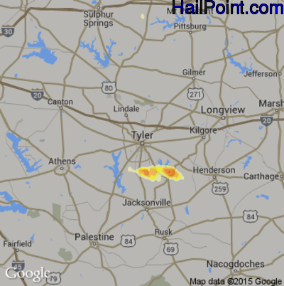 Hail Map for Tyler, TX Region on June 14, 2012