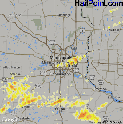 Hail Map for Minneapolis, MN Region on June 14, 2012