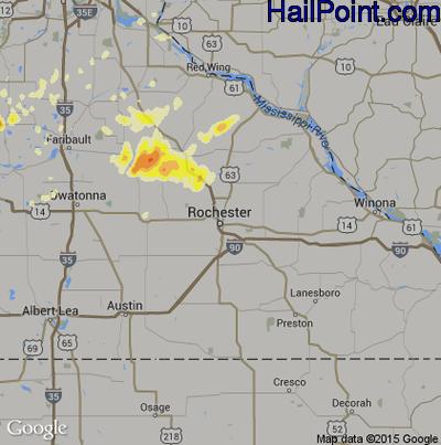 Hail Map for Rochester, MN Region on June 14, 2012