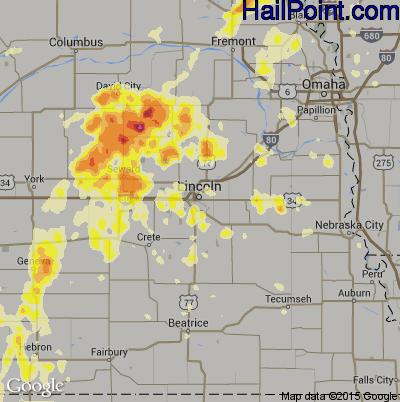 Hail Map for Lincoln, NE Region on June 14, 2012