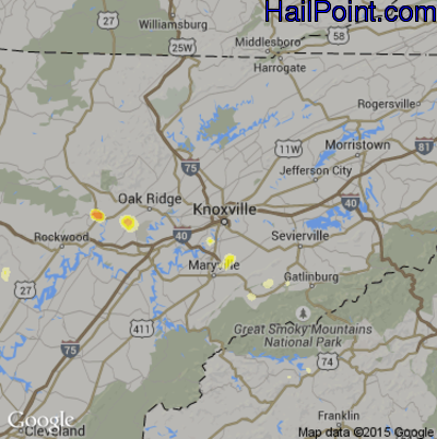 Hail Map for Knoxville, TN Region on June 14, 2012