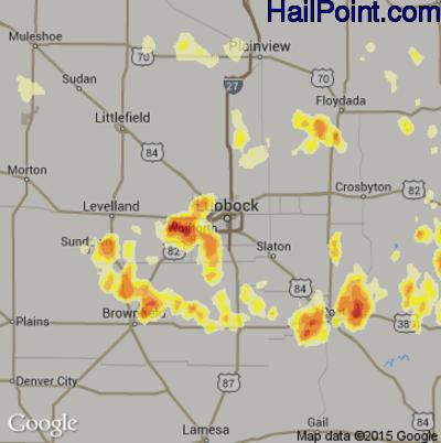 Hail Map for Lubbock, TX Region on June 14, 2012