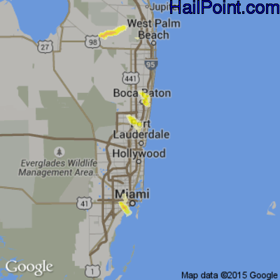 Hail Map for Fort Lauderdale, FL Region on June 15, 2012