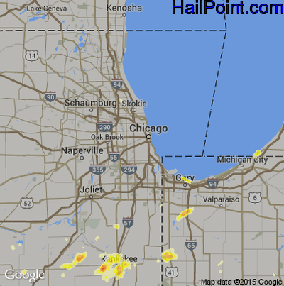 Hail Map for Chicago, IL Region on June 16, 2012
