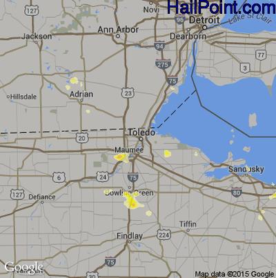 Hail Map for Toledo, OH Region on June 18, 2012