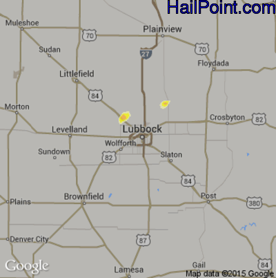 Hail Map for Lubbock, TX Region on June 22, 2012