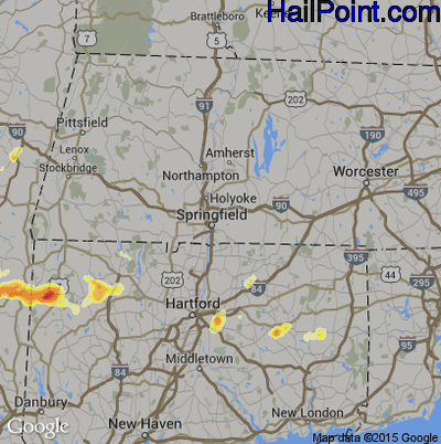 Hail Map for Springfield, MA Region on June 22, 2012