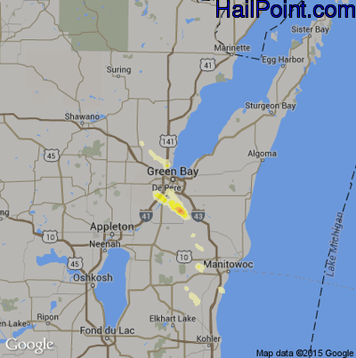 Hail Map for Green Bay, WI Region on June 22, 2012