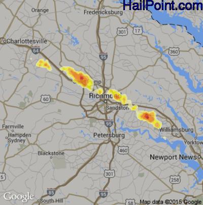 Hail Map for Richmond, VA Region on June 25, 2012
