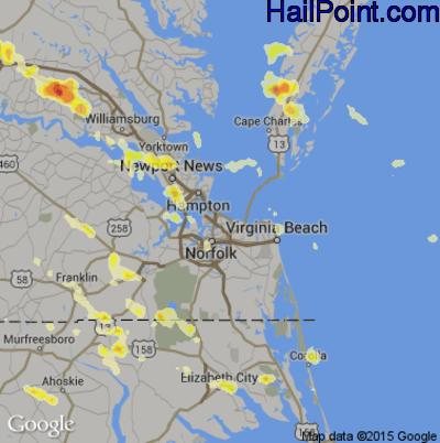 Hail Map for Norfolk, VA Region on June 25, 2012
