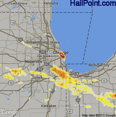 Hail Map for Chicago, IL Region on June 28, 2012