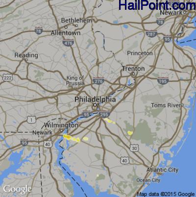 Hail Map for Philadelphia, PA Region on June 29, 2012