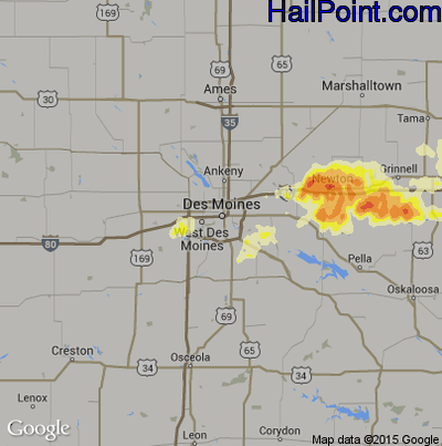 Hail Map for Des Moines, IA Region on June 29, 2012
