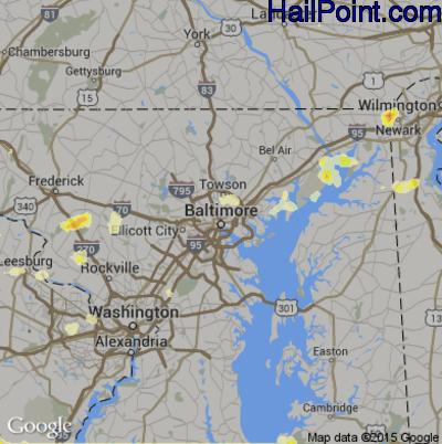 Hail Map for Baltimore, MD Region on June 30, 2012