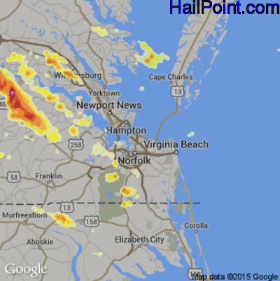 Hail Map for Norfolk, VA Region on July 1, 2012
