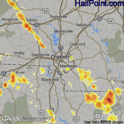 Hail Map for Charlotte, NC Region on July 1, 2012