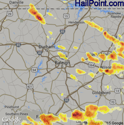 Hail Map for Raleigh, NC Region on July 1, 2012