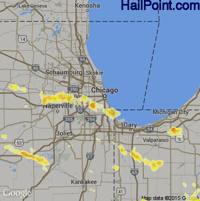 Hail Map for Chicago, IL Region on July 1, 2012