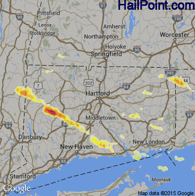 Hail Map for Hartford, CT Region on July 1, 2012