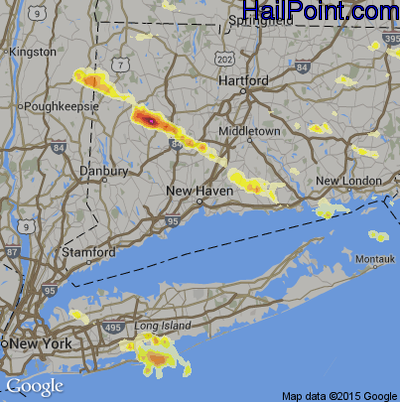 Hail Map for New Haven, CT Region on July 1, 2012