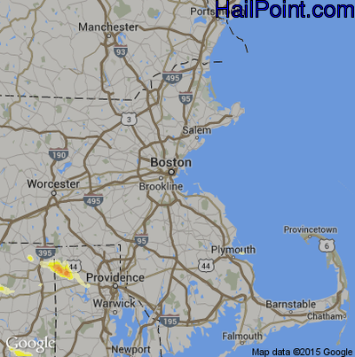 Hail Map for Boston, MA Region on July 1, 2012