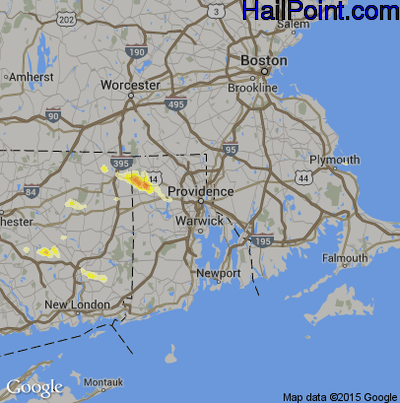 Hail Map for Providence, RI Region on July 1, 2012