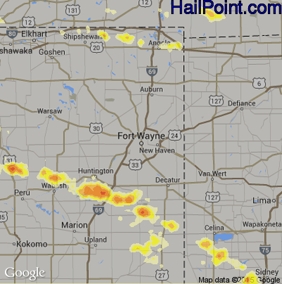 Hail Map for Fort Wayne, IN Region on July 1, 2012