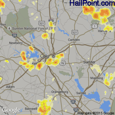 Hail Map for Columbia, SC Region on July 1, 2012
