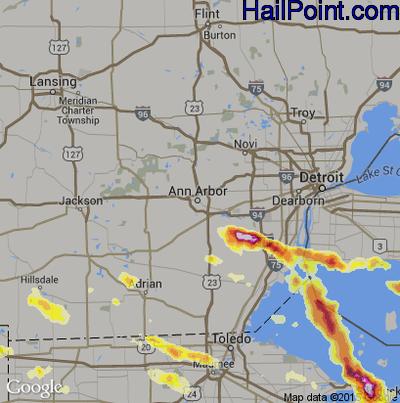Hail Map for Ann Arbor, MI Region on July 1, 2012