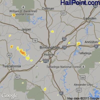 Hail Map for Birmingham, AL Region on July 1, 2012
