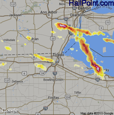 Hail Map for Toledo, OH Region on July 1, 2012