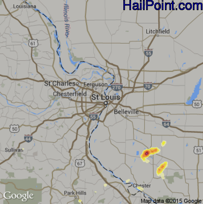 Hail Map for St. Louis, MO Region on July 1, 2012
