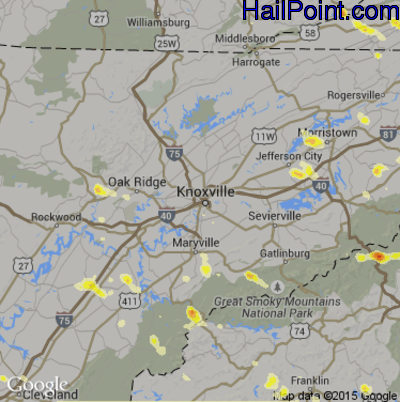 Hail Map for Knoxville, TN Region on July 1, 2012