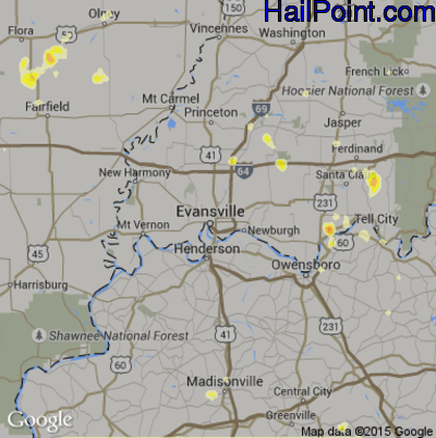 Hail Map for Evansville, IN Region on July 2, 2012