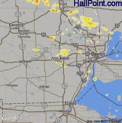 Hail Map for Ann Arbor, MI Region on July 3, 2012