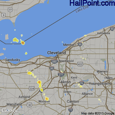 Hail Map for Cleveland, OH Region on July 3, 2012