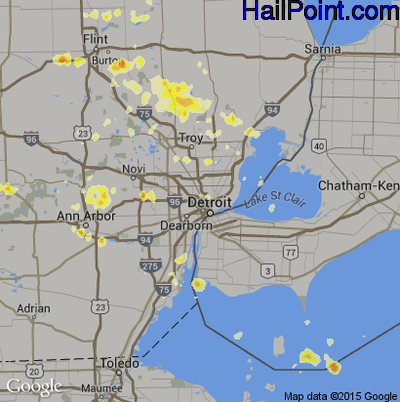 Hail Map for Detroit, MI Region on July 3, 2012