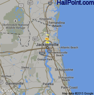 Hail Map for Jacksonville, FL Region on July 4, 2012