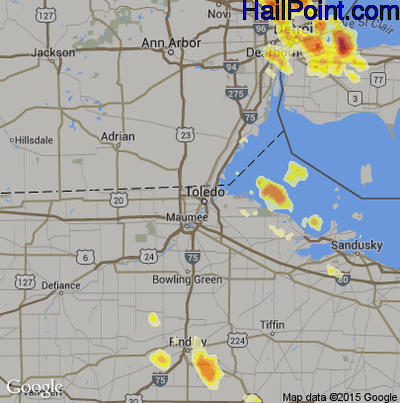 Hail Map for Toledo, OH Region on July 4, 2012