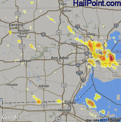 Hail Map for Ann Arbor, MI Region on July 4, 2012