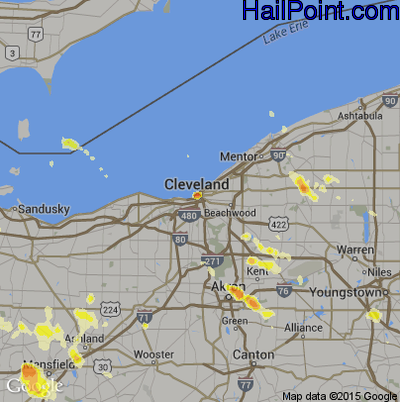 Hail Map for Cleveland, OH Region on July 5, 2012