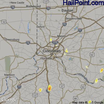 Hail Map for Cincinnati, OH Region on July 5, 2012
