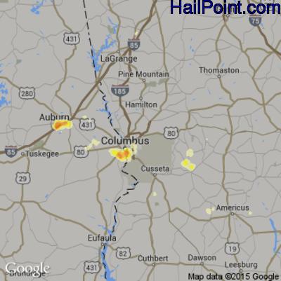 Hail Map for Columbus, GA Region on July 5, 2012