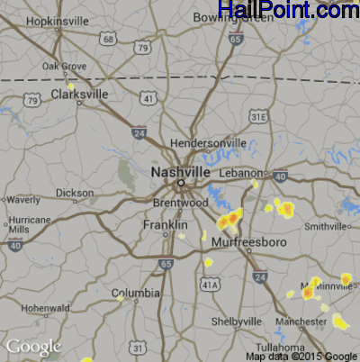 Hail Map for Nashville, TN Region on July 5, 2012